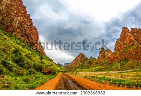 Mountain road to the Red Rocks canyon. Mountain canyon road. Road in mountain canyon. Mountain road landscape