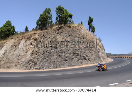 Mountain Road Turn, Canary Island Tenerife, Spain - stock photo