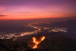 Mountain road with light tracks view from Taif, SaudiArabia, KSA.