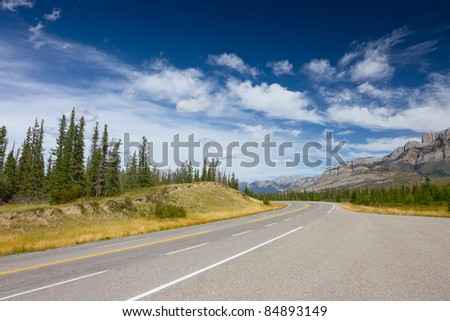 Mountain Road (Yellowhead Highway) with Painted Double Yellow Line. Photo is taken in Jasper National Park, Alberta, Canada