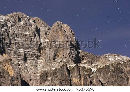 mountain rock in the night