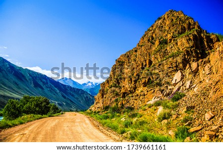Mountain rock road landscape. Mountain road