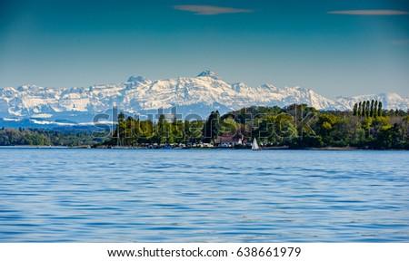mountain saentis over the lake constance #638661979