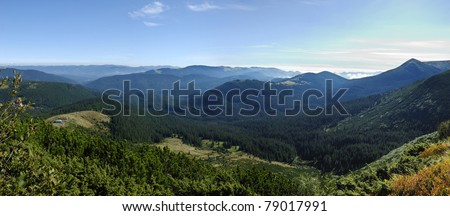 mountain scenery in Carpathians with lonely houses