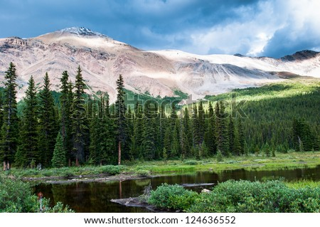 Mountain scenery with small pond in Banff national park, Alberta, Canada - stock photo