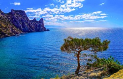 Mountain sea bay panorama. Sea bay in mountains. Mountain sea bay view. Sea bay landscape
