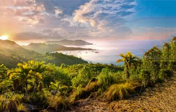 Mountain sea bay sunrise landscape. Sunrise in mountain sea bay. Sea bay sunrise. Mountain sea bay sunrise view