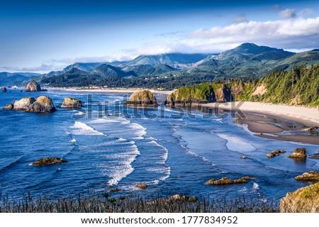 Mountain sea beach landscape. Sea beach in mountains. Mountain sea beach