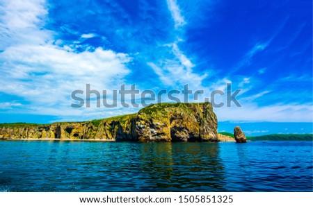Mountain sea shore line landscape. Mountain sea rock landscape. Sea rock view. Mountains sea rock scene