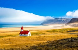 Mountain sea valley church landscape. Sea church landscape. Church at mountain sea valley. White church at mountain sea