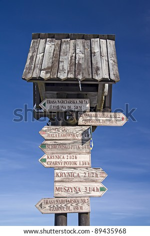 Mountain signpost in Poland.