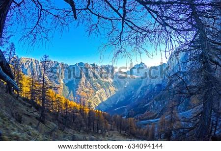 Mountain silhouettes landscape #634094144