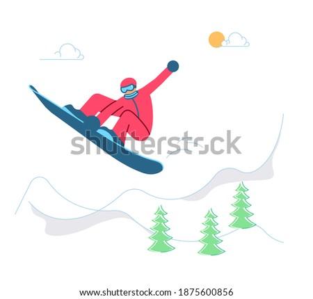 Mountain Ski Resort concept. Snowboarder on winter Mountain Landscape background. Flat Art Rastered Copy
