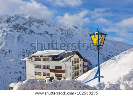 Mountain ski resort Hochgurgl Austria - nature and sport background - stock photo