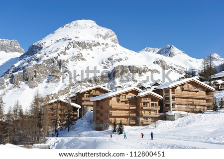 Mountain ski resort with snow in winter, Val-d\'Isere, Alps, France
