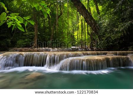 Mountain stream among the mossy stones, Erawan waterfall, Thailand