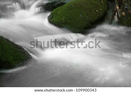 Mountain Stream flowing gently around moss covered rocks
