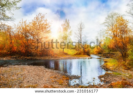 Mountain stream, forest autumn landscape at sunset. South Ural, Russia. Creative toning effect