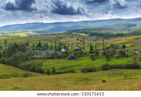 Mountain summer day landscape with clouds on blue sky, river and small houses. Scenery, Scenery Scenery Scenery Scenery Scenery Scenery landscape landscape landscape landscape landscape landscape  #510171613