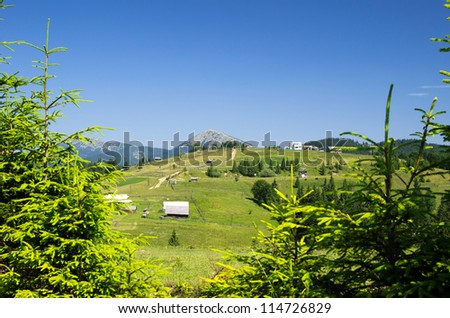 mountain summer landscape with blue sky