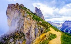 Mountain summit path fog landscape
