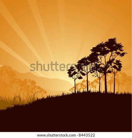 mountain sunrise vector