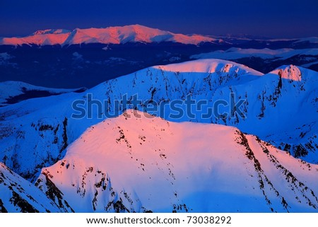 Mountain sunset light