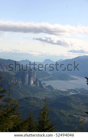 Mountain sunset view from mountain peak. - stock photo