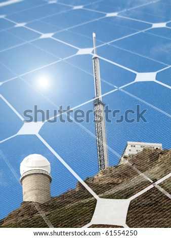 Mountain telescope observatory  with shining sun and  photovoltaic panel