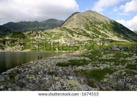 Mountain tent camp and small shellter near Bucura lake (Retezat Mountains - Romania)