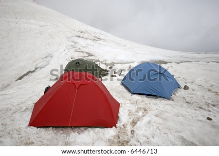 Mountain tents located on mountain  pass