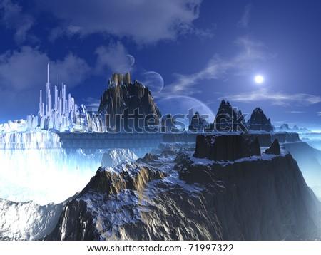 Mountain Top Futuristic Alien City
