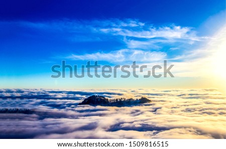 Mountain top sky clouds sunset view. Heaven cloudy sky panorama. Mountain top clouds landscape. Blue sky white clouds view