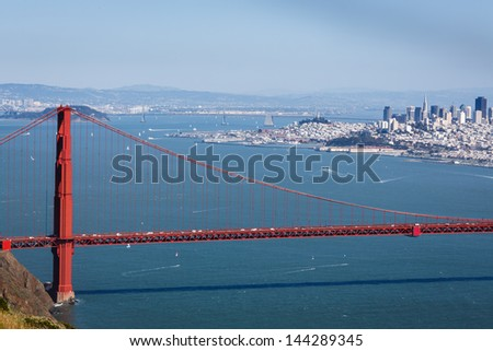 Mountain top view of the Golden Gate Bridge looking back toward city of San Francisco on a clear sunny day