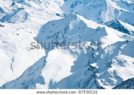 mountain tops in winter, Alps