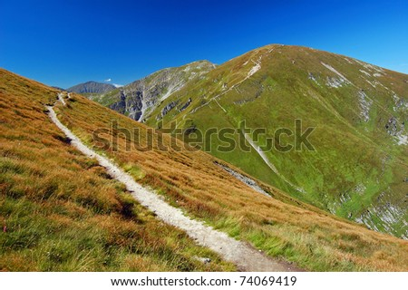 Mountain trail in West Tatra Mountains in late summer