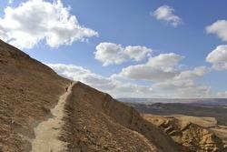 Mountain trekking in Negev desert.