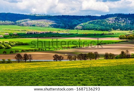 Mountain valley agriculture fields landscape. Agriculture field in mountain valley