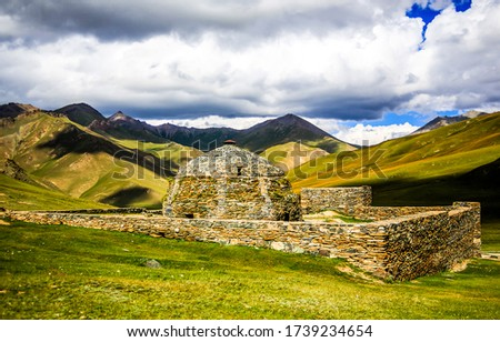 Mountain valley ancient ruins view
