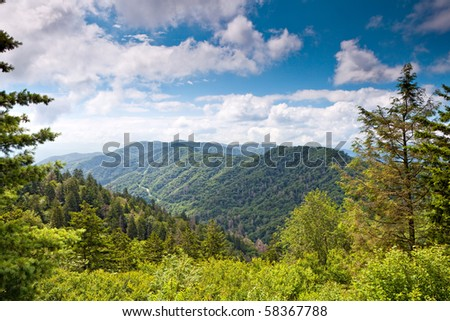 Mountain valley at sunny day.  Great Smoky Mountain National Park, Tennessee, USA