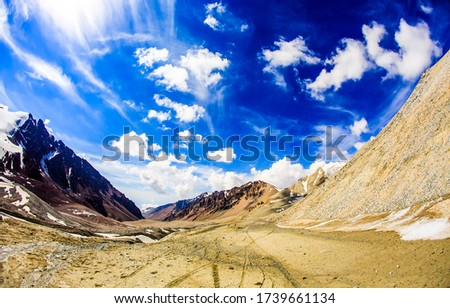 Mountain valley blue sky clouds. Mountain valley landscape