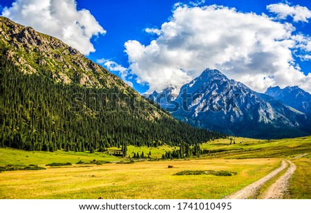 Mountain valley blue sky couds landscape. Green valley in mountains. Mountain green valley landscape