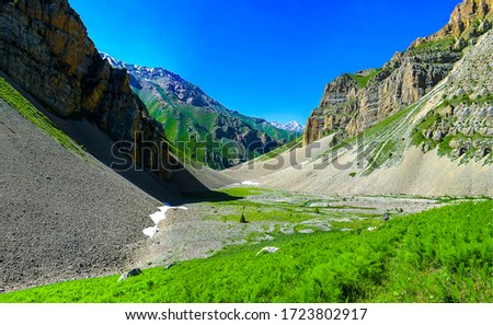 Mountain valley canyon landscape view. Green mountain canyon view
