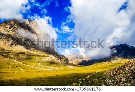 Mountain valley cloudy sky landscape. Mountain valley view