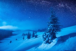 Mountain valley covered with fresh snow in a moonlight. Milky way in a starry sky. Christmas winter night.
