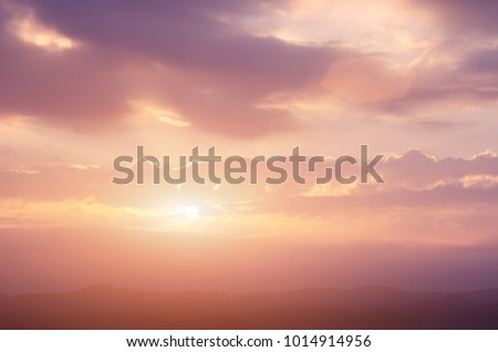 Mountain valley during sunrise. Natural summer landscape #1014914956