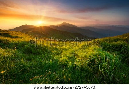 Mountain valley during sunrise. Natural summer landscape #272741873