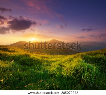 Mountain valley during sunrise. Natural summer landscape #285072242