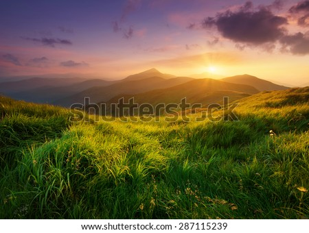 Mountain valley during sunrise. Natural summer landscape #287115239