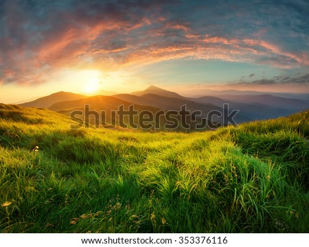 Mountain valley during sunrise. Natural summer landscape  #353376116
